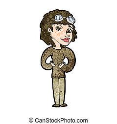 karikatúra, pilóta, nő