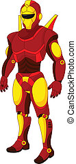 karikatúra, piros, humanoid, robot
