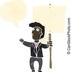 karikatúra, plakát, retro, ember