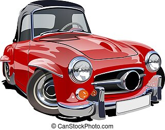karikatúra, retro, autó