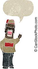 karikatúra, retro, szerelő, ember