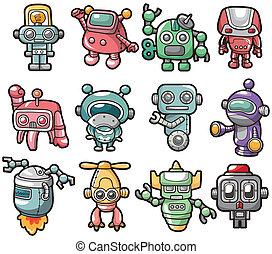karikatúra, robot, ikon