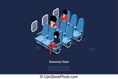 karikatúra, sötét, repülőgép, belső, háttér., emberek, windows, fogalmi, repülőgép, tervezés, passengers., ábra, gazdaság, elhelyez, mód, zenemű, 3, vektor, három, isometric, osztály, ülés