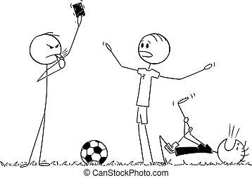 karikatúra, súlyos, ábra, futball foci, kiállítás, játékvezető, kártya, vektor, vagy, piros, játékos