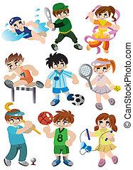 karikatúra, sport, játékos, ikon, állhatatos