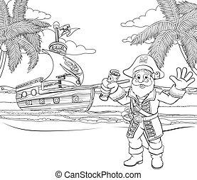 karikatúra, színezés, tengerpart, oldal, kalóz