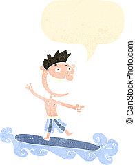 karikatúra, szörfözás, retro, ember