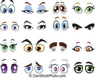 karikatúra, szemek