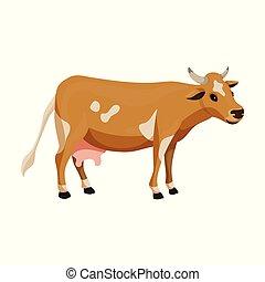 karikatúra, tehén, icon., háttér, elszigetelt, ikon, vektor, animal., állat, fehér