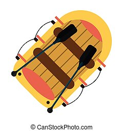 karikatúra, topview, csónakázik, evező
