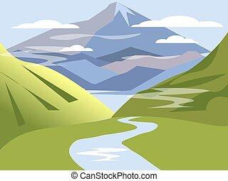 karikatúra, völgy, folyó, hegy., parkosít., minimalista, ...