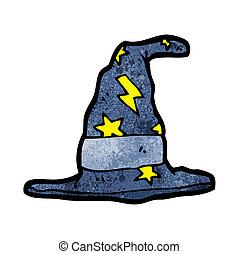 karikatúra, varázslatos, varázsló, kalap