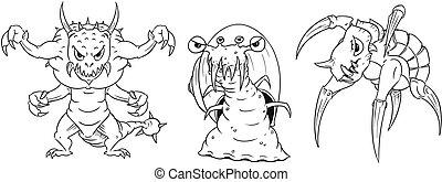 karikatúra, vektor, állhatatos, közül, veszélyes, szörnyek,...