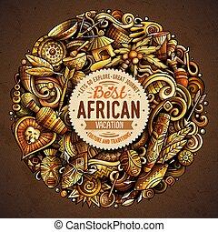 karikatúra, vektor, doodles, afrika, ábra