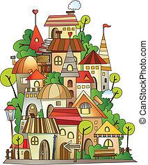 karikatúra, vektor, szerkesztés, város