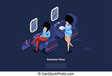 karikatúra, writing., közben, belső, utas, flight., emberek, tányér, repülőgép, női, ábra, mód, zenemű, 3, vektor, két, fogalom, ügy, characters., felszolgálás, isometric, légi utaskísérőnő, osztály