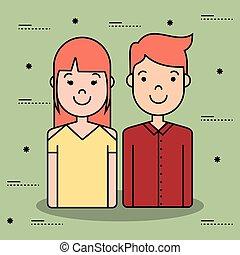 karikatúra, young emberek, ikon