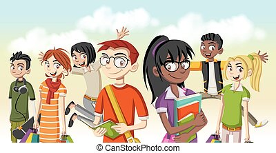 karikatúra, young emberek