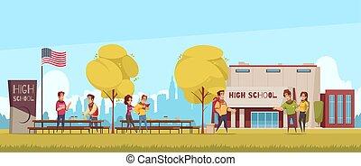 karikatur, abbildung, gymnasium