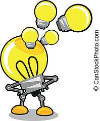 karikatur, abbildung, lampe