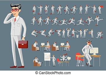 karikatur, abbildung, von, a, hübsch, junger, geschäftsmann, in, verschieden, posen, vektor