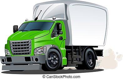 karikatur, auslieferung, oder, fracht lastwagen, freigestellt, weiß, hintergrund