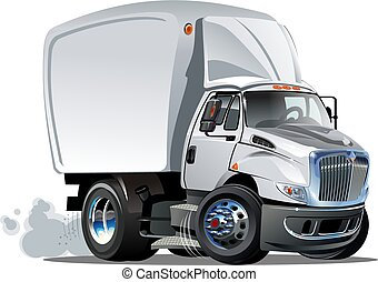 karikatur, auslieferung, oder, fracht lastwagen
