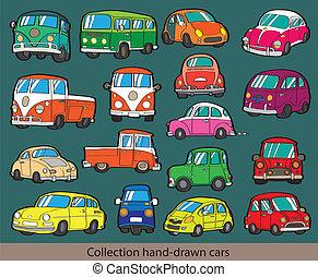 karikatur, auto, ikone, satz