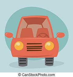 karikatur, auto, -, vorderansicht