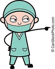 karikatur, böser , chirurg, schreien