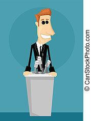 karikatur, büroangestellte, in, a, podium