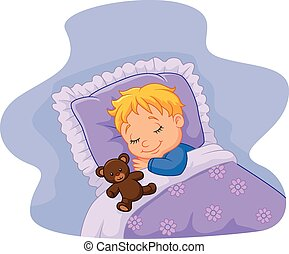 karikatur, baby, eingeschlafen, mit, teddy, sein