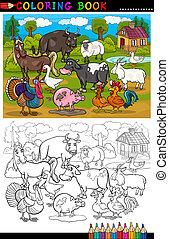karikatur, bauernhof, und, bauernhoftiere, tiere, für, färbung