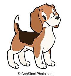 karikatur, beagle