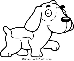 karikatur, beagle, gehen