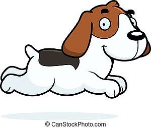karikatur, beagle, rennender