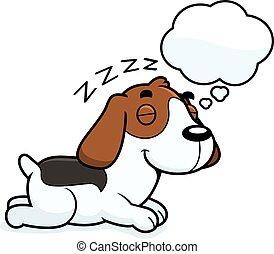 karikatur, beagle, träumende