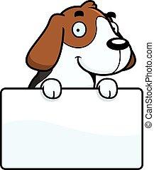 karikatur, beagle, zeichen