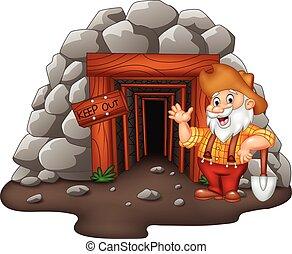 karikatur, bergwerk, eingang, mit, goldener bergarbeiter