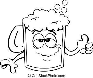 bierkrug bier schwarz wei es karikatur bierkrug bier schwarz freehand gezeichnet. Black Bedroom Furniture Sets. Home Design Ideas
