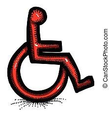 karikatur, bild, von, behinderung , icon., zugänglichkeit, symbol
