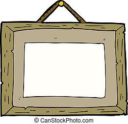 karikatur, bilderrahmen