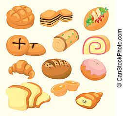 karikatur, bread, ikone