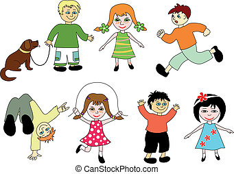 karikatur, children.