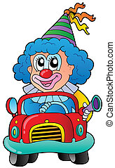 karikatur, clown, fahren, auto