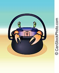 karikatur, crab., ocean., zauberkessel, krabbe, seashore., zeichen, lustiges