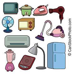 karikatur, daheim, gerät, ikone