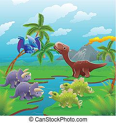 karikatur, dinosaurier, scene.