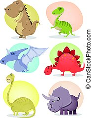 karikatur, dinosaurierer, sammlung