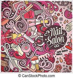 karikatur, doodles, nagelstudio, rahmen, design